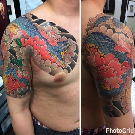 Tattoos - Snake and peony chest panel half sleeve - 131146