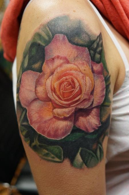 Tattoos - Realistic Rose Tattoo - 122082