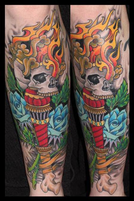 Tattoos - Traditional Skull Torch - 131036