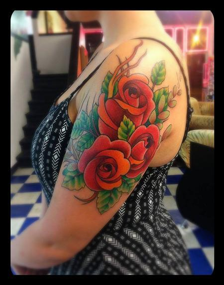 Neo traditional rose halfsleeve by james corgill tattoos for Neo traditional rose tattoo