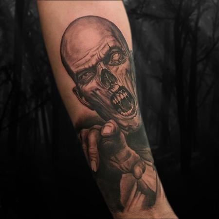 Tattoos - Black and Grey Realistic Zombie Portrait Tattoo - 128243