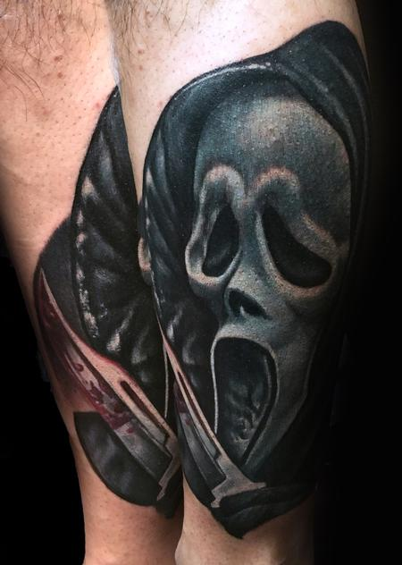 Realistic Scream Movie Tattoo Tattoo Design by Danny Elliott