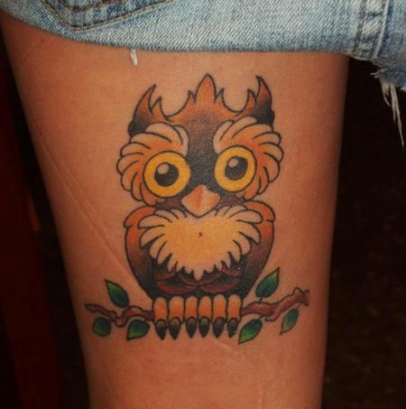 Traditional owl  Tattoo Thumbnail