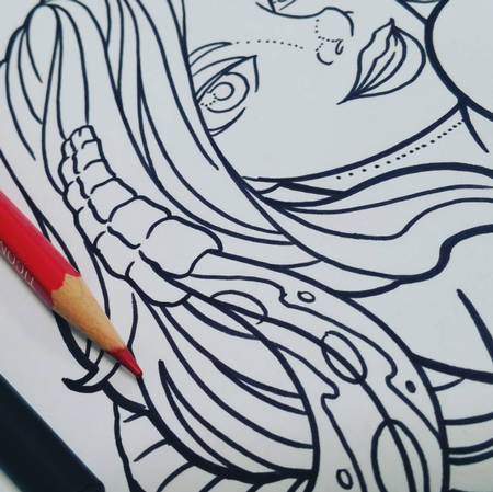 Trey Edinger - Girl and snake linework close up