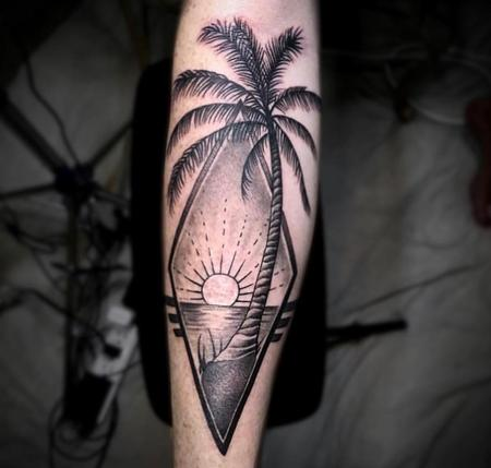 Tattoos - Black & Gray Palm Tree - 132943