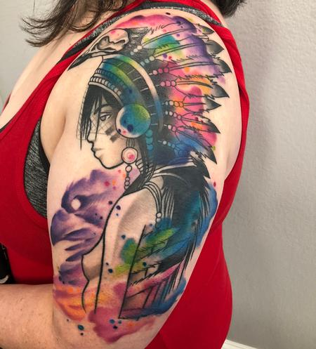 Tattoos - Watercolor Woman With Headdress  - 133746