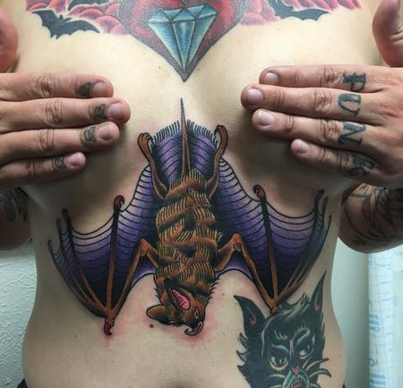 Tattoos - Traditional Bat Sternum Tattoo - 131463