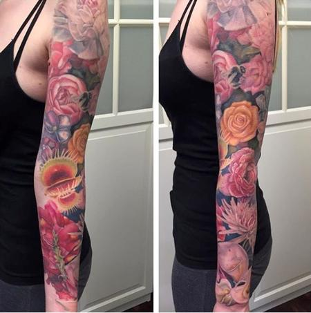 Floral Sleeve Progress Shot Tattoo Thumbnail