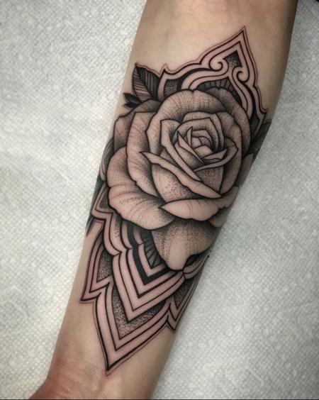 Black And Gray Rose & Mandala Tattoo Thumbnail