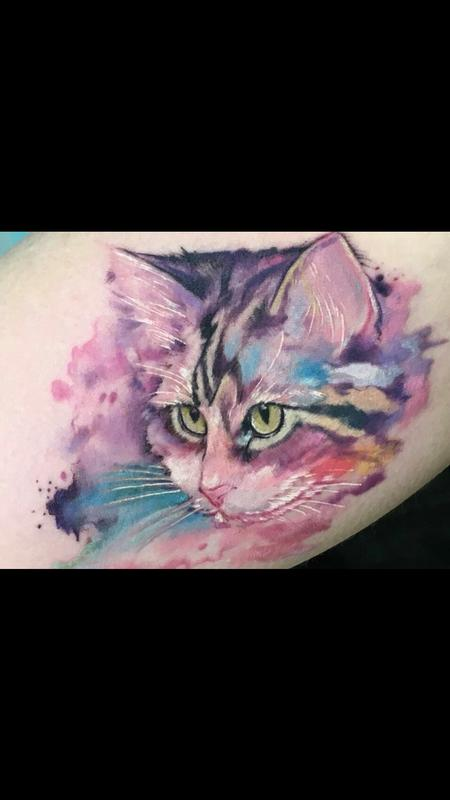 Tattoos - Watercolor Cat Portrait - 131287