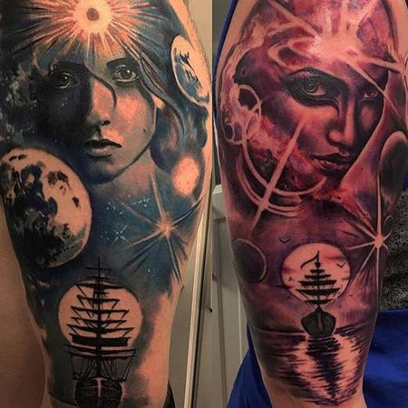 Brother / Sister Matching Sleeve Tattoos Tattoo Design by Robert Luckey