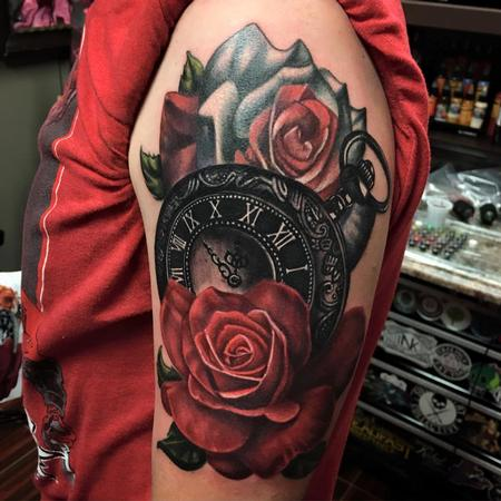 Realistic Roses and Pocket Watch Tattoo Design by Danny Elliott