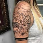 Tattoos - Blackwork Landscape Half-Sleeve by David Mushaney - 122999