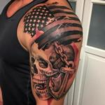 Tattoos - Trash Polka Style Flag Skull and Anchor Tattoo by David Mushaney - 127485