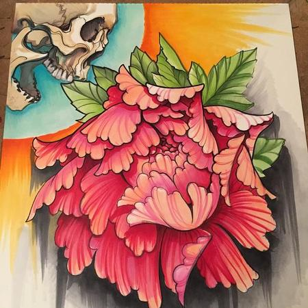 Tattoos - Skull and Peony Copic Marker Drawing - 99238