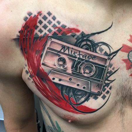 Tattoos - Old School Cassette Tape Chest Tattoo - 99747