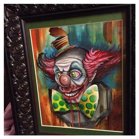 David Mushaney - Creepy Clown Watercolor Painting