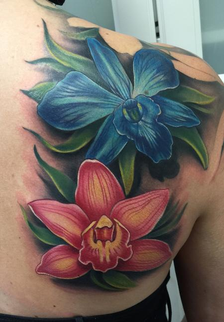 Colorful Orchid Cover-Up Tattoo Design Thumbnail