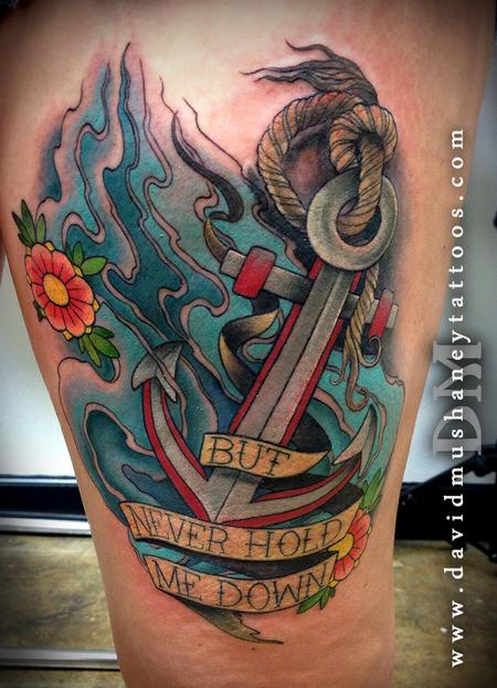 Colorful Anchor Thigh Tattoo Tattoo Design Thumbnail