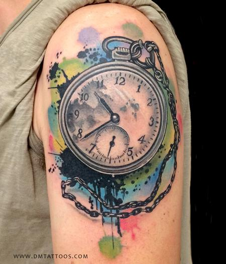 Tattoos - Abstract Watercolor Time Piece Tattoo - 97906