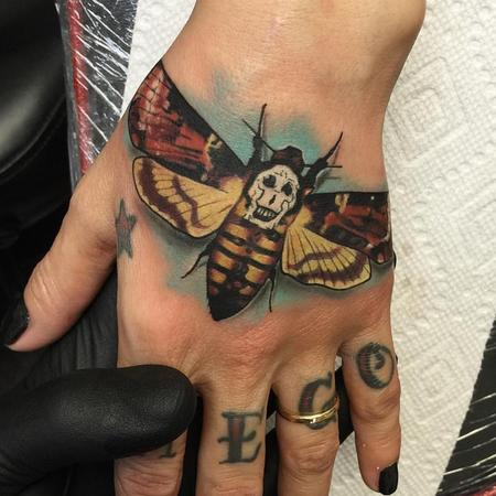 Tattoos - Dead Head Moth Hand Tattoo - 114587