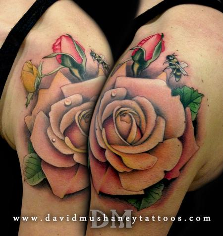 Tattoos - Pastel Roses and Bumble Bee Shoulder Tattoo - 87223