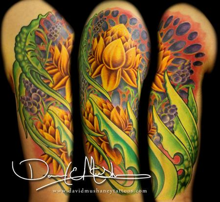 Lotus Flower and Bio-Organic Half-Sleeve Tattoo Tattoo Design Thumbnail