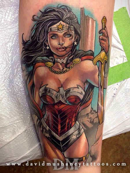 David Mushaney - Color Wonder Woman Calf Tattoo