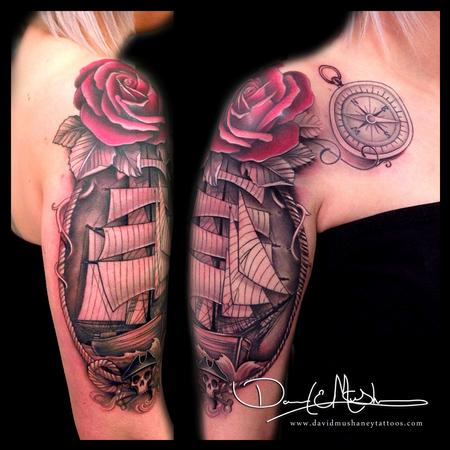 Ship and Rose Half-Sleeve Tattoo Tattoo Design Thumbnail