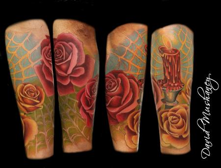 Tattoos - Rose and Candle Tattoo - 68026