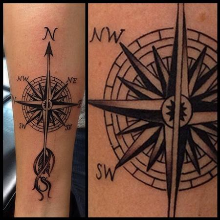 Tattoos - Compass Forearm Tattoo - 84103
