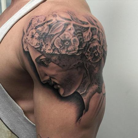 Black and Grey Greek Statue  Tattoo Design