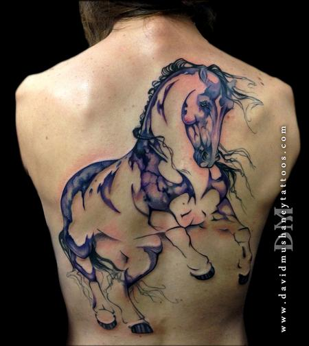 Large Scale Watercolor Style Horse Tattoo Tattoo Design Thumbnail