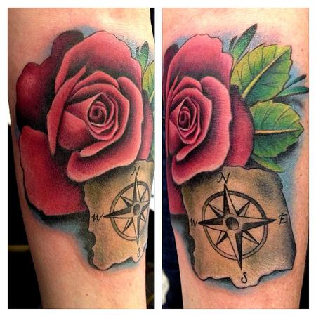 Pink Rose and Compass Forearm Tattoo Tattoo Design Thumbnail