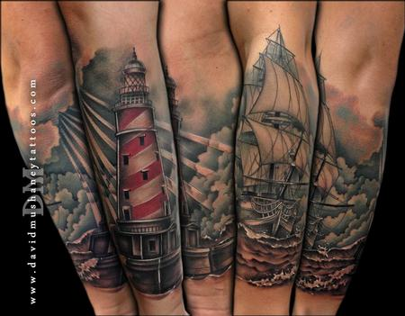 Lighthouse and Ship Half Sleeve Tattoo Tattoo Design Thumbnail