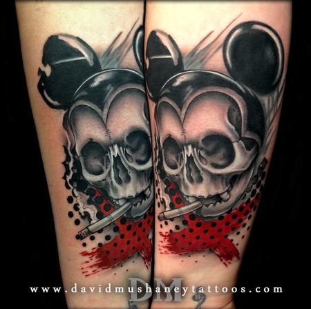 Semi Abstract Mickey Mouse Skull Tattoo Design Thumbnail