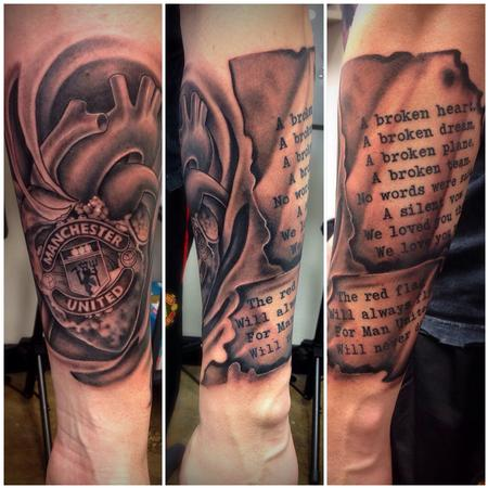 Black and Grey Manchester United Memorial Tattoo by David Mushaney Tattoo Design Thumbnail