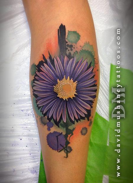 Abstract Watercolor Style Flower Tattoo Design Thumbnail