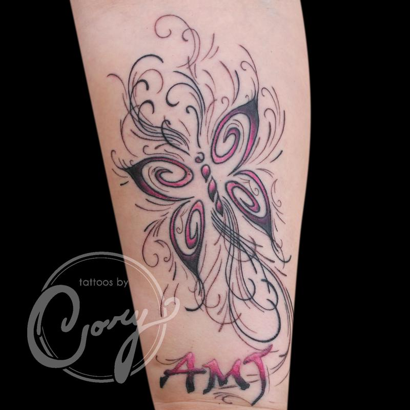 Pink butterfly tattoo by cory claussen tattoonow for Tattoo shops sioux falls sd