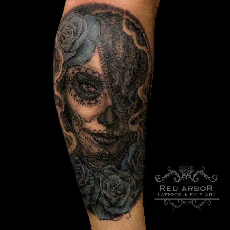 Day of dead coverup by cory claussen tattoonow for Tattoo shops sioux falls sd