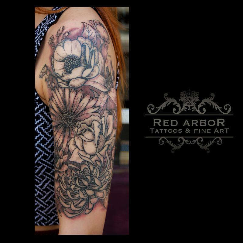 Flowers by cory claussen tattoonow for Tattoo shops sioux falls sd