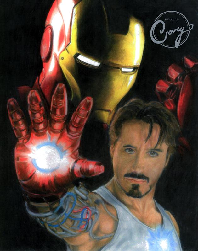 Iron man colored pencils portrait by cory claussen for Tattoo shops sioux falls sd