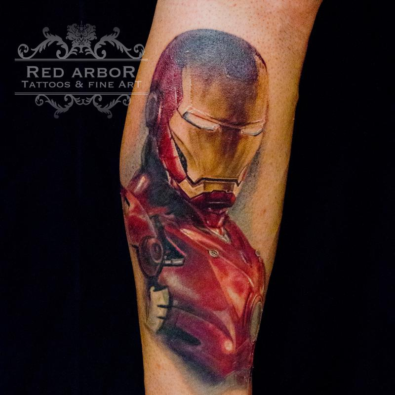 Iron man portrait tattoo by cory claussen tattoonow for Tattoo shops sioux falls sd