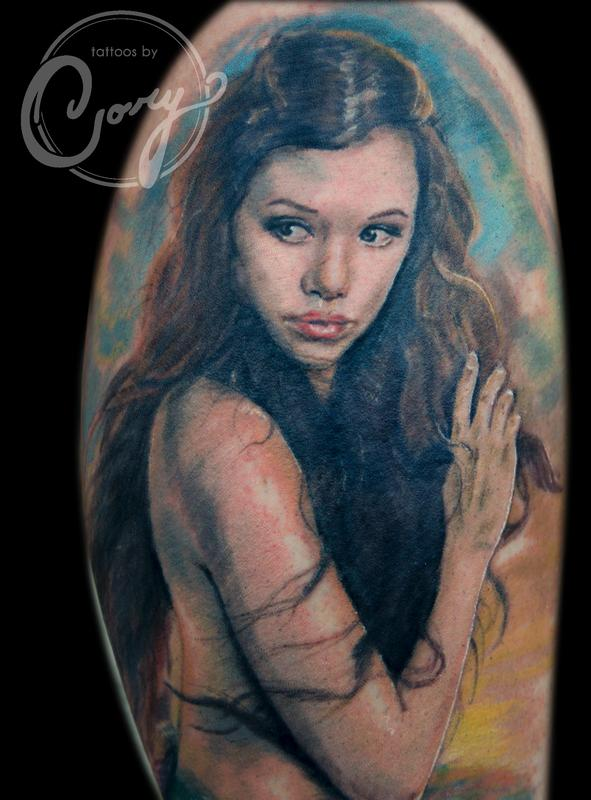 Mermaid portrait tattoo by cory claussen tattoonow for Tattoo shops sioux falls sd