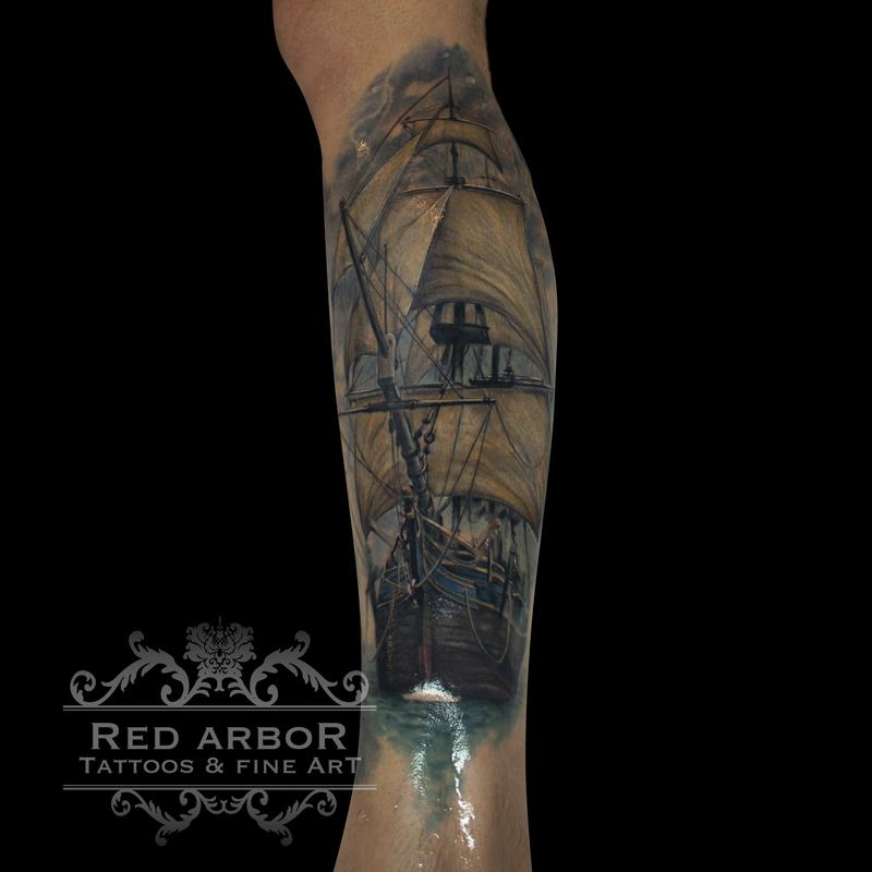 Sea ship tattoo by cory claussen tattoonow for Great falls tattoo shops