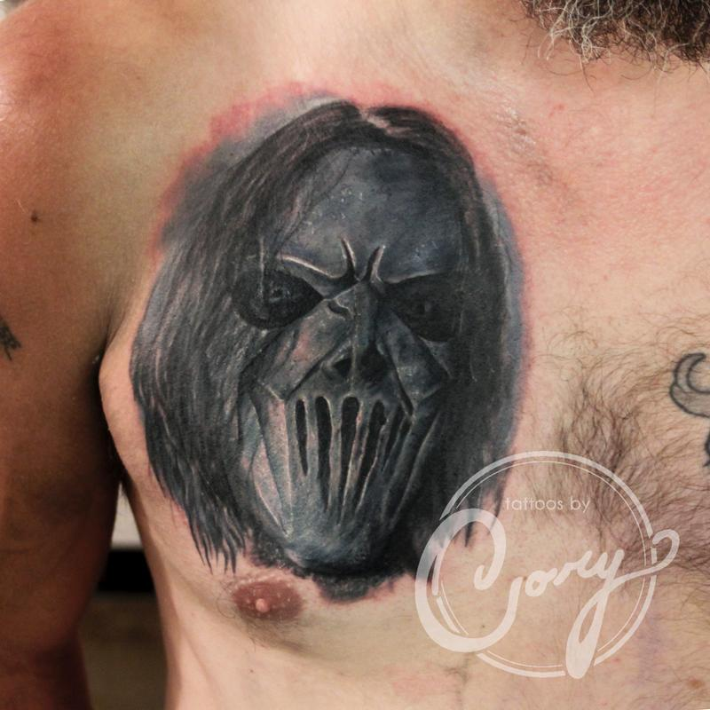 Slipknot portrait coverup by cory claussen tattoonow for Tattoo shops sioux falls sd