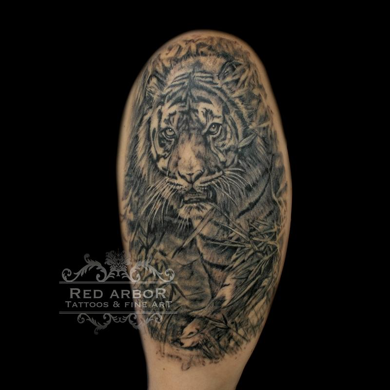 Realistic tiger black and gray by cory claussen tattoonow for Tattoo shops sioux falls sd