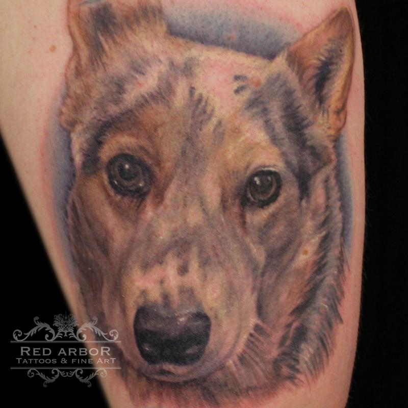 Color pet portrait tattoo by cory claussen tattoonow for Great falls tattoo shops