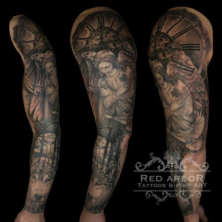 Tattoos - Angel Wolf Memorial Clock Tattoo - 130080