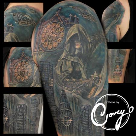 Tattoos - Assassin Clock Cityscape tattoo - 96483